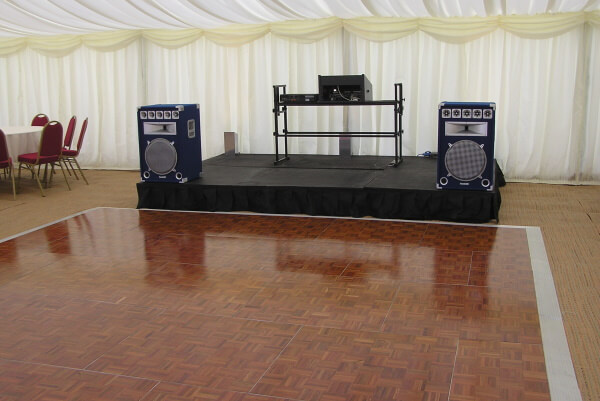 clearspan wedding marquee stage
