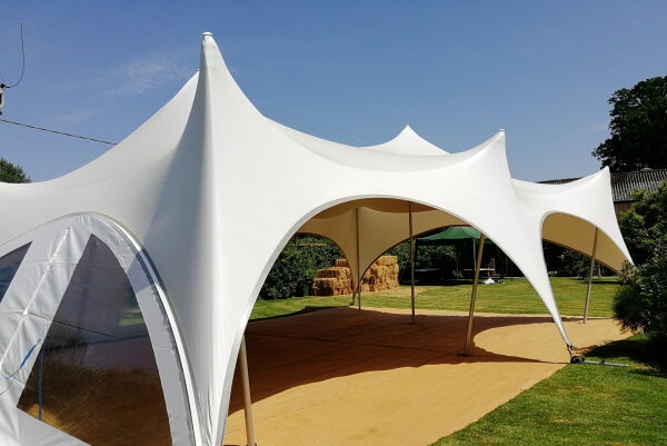 marquee with corn floor